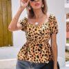 shein Sweetheart Neck Puff Sleeve Dalmatian Print Peplum Top