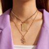 SHEIN 2pcs Rhinestone Decor Dragon Charm Necklace