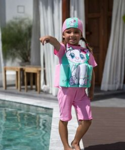 SHEIN Bikinx Toddler Girls Cartoon Cat & Letter Graphic Floating Swimsuit With Swim Cap