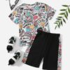 SHEIN Boys Letter & Graphic Print Tee and Shorts Set