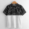 SHEIN Boys Slogan Tape Detail Geo Print Colorblock Polo Shirt