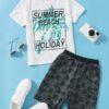SHEIN Boys Slogan and Coconut Tree Print Top & Shorts Set