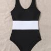 SHEIN Color Block One Piece Swimsuit