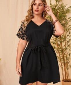 SHEIN EMERY ROSE Plus Leopard Spliced V Neck Belted Dress
