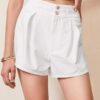 SHEIN Fold Pleated Front Solid Shorts