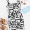SHEIN Girls Comic Print Tank Dress