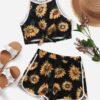 SHEIN Girls Sunflower Print Cami Top & Track Shorts Set