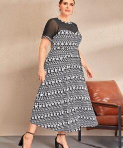 SHEIN Plus Sheer Mesh Insert Houndstooth Dress