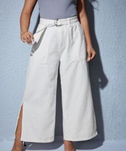 SHEIN Plus Split Side Belted Wide Leg Jeans