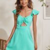 SHEIN Solid Cut Out Drawstring Front Dress