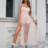 Shein Contrast Dot Mesh Split Hem Combo Cami Dress