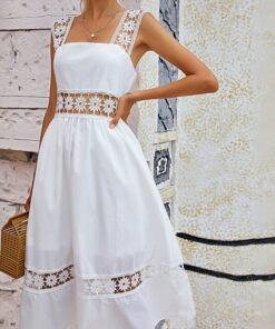 Shein Eyelet Embroidery Zip Back Cami Dress