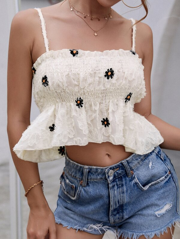 Shein Frilled Floral Embroidered Shirred Ruffle Hem Cami Top
