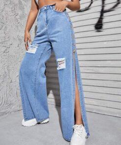 Shein High Waist Ripped Chain Detail Split Thigh Jeans