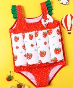 Shein Toddler Girls Strawberry & Polka Dot One Piece Swimsuit
