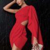 Double Crazy One Shoulder Drape Side Cut Out Satin Dress