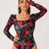 SHEIN Allover Floral Print Puff Sleeve Bodysuit