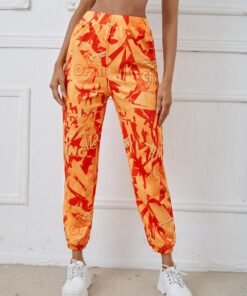 SHEIN Allover Print Elastic Waist Sweatpants