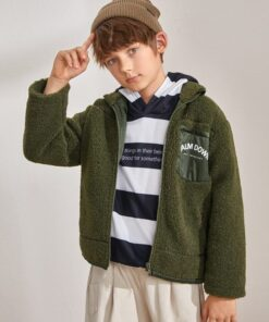 SHEIN Boys Zip Up Letter Graphic Teddy Coat