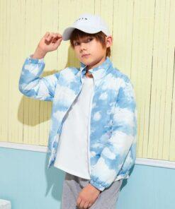 SHEIN Boys Zipper Front Tie Dye Puffer Jacket