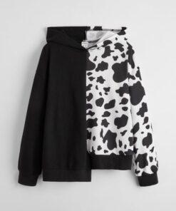 SHEIN Girls Cow Print Asymmetrical Hem Hoodie