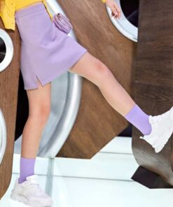 SHEIN Girls High Waist Solid Straight Skirt