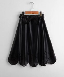 SHEIN Girls Laser Cut Out Belted PU Skirt