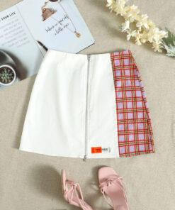 SHEIN Plaid Spliced Zip Up Patch Detail Skirt