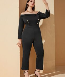 SHEIN Plus Double Breasted Off Shoulder Jumpsuit