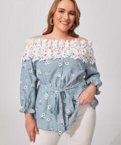 SHEIN Plus Plaid & Floral Print Off Shoulder Guipure Lace Trim Belted Blouse