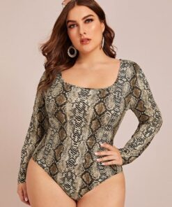 SHEIN Plus Snakeskin Print Bodysuit