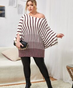SHEIN Plus Striped Pattern Batwing Sleeve Sweater