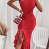 SHEIN SXY One Shoulder Asymmetrical Ruffle Hem Twist Front Dress