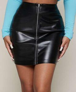 SHEIN SXY Zip Up PU Leather Skirt