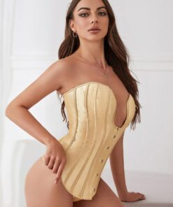 SHEIN Satin Lace-up Back Corset With Thong