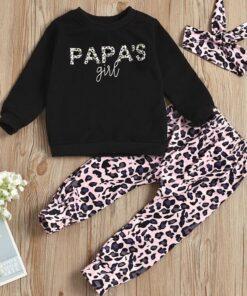 SHEIN Toddler Girls Letter Graphic Sweatshirt & Pants & Headband