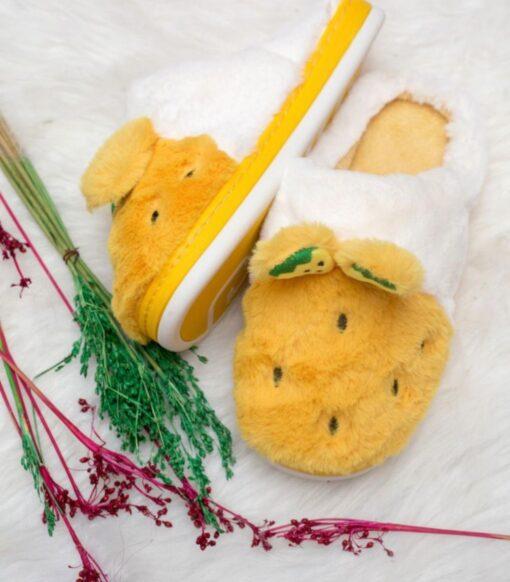 Pineapple fluffy slippers (kids)