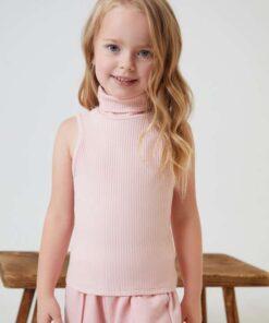 SHEIN BASICS Toddler Girls Rolled Neck Tank Top