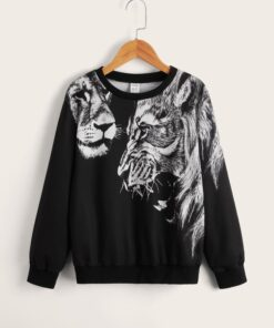 SHEIN Boys Animal Print Round Neck Pullover