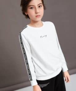 SHEIN Boys Letter Graphic Contrast Tape Pullover