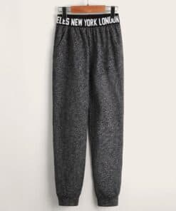SHEIN Boys Letter Tape Marled Knit Sweatpants