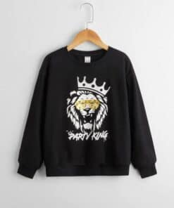 SHEIN Boys Lion & Letter Graphic Pullover