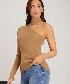 SHEIN Choker One Sleeve Solid Sweater