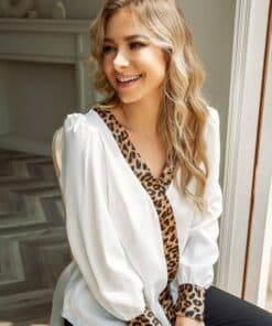 SHEIN Contrast Leopard Puff Sleeve Blouse