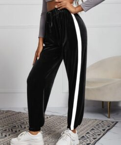 SHEIN Contrast Side Seam Drawstring Waist Velvet Sweatpants
