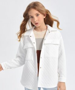 SHEIN Girls Drop Shoulder Flap Pocket Quilted Coat
