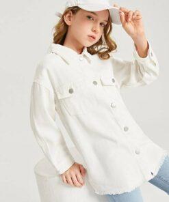 SHEIN Girls Flap Pocket Drop Shoulder Denim Jacket