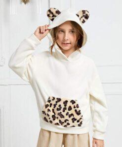 SHEIN Girls Leopard Print 3D Ear Patched Fleece Hoodie