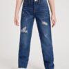 SHEIN Girls Ripped Raw Cut Straight Leg Jeans