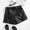 SHEIN Girls Rolled Hem Belted PU Leather Shorts